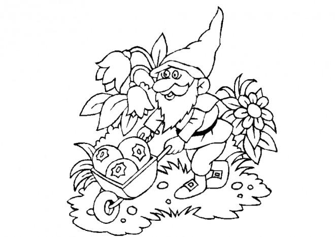 Coloriage et dessins gratuits Gnomes et fruits à imprimer