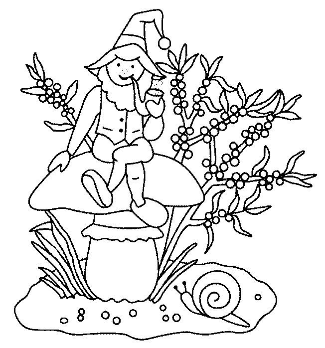 Coloriage et dessins gratuits Gnomes fume sa pipe à imprimer