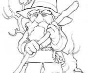 Coloriage Gnomes porte son bâton