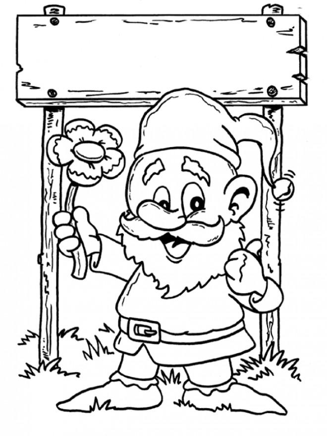 Coloriage et dessins gratuits Gnomes sourit en ligne à imprimer