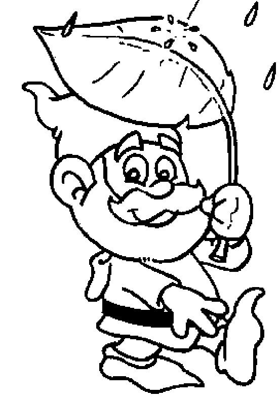 Coloriage et dessins gratuits Gnomes sous la pluie à imprimer