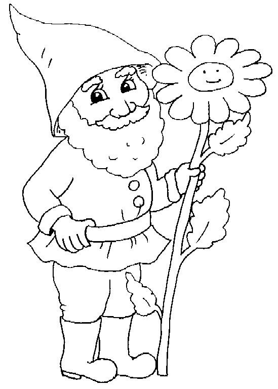 Coloriage et dessins gratuits Gnomes tient une grosse fleure à imprimer