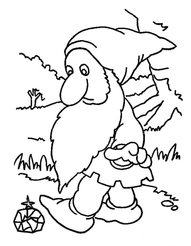 Coloriage et dessins gratuits Gnomes trouve un diamant à imprimer