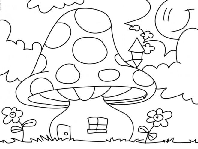 Coloriage et dessins gratuits La maison des Gnomes à imprimer