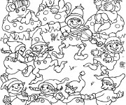 Coloriage et dessins gratuit Les Gnomes chantent et dansent à imprimer