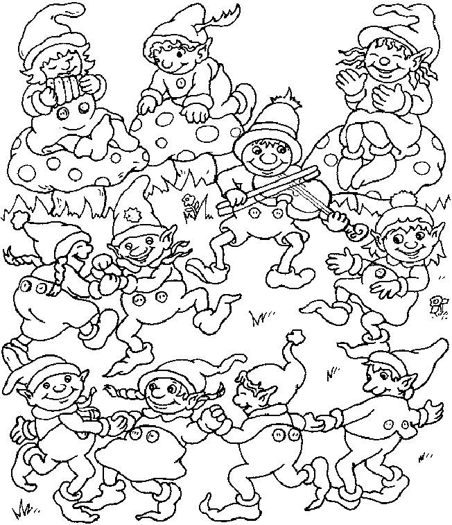 Coloriage et dessins gratuits Les Gnomes chantent et dansent à imprimer
