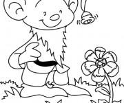 Coloriage et dessins gratuit Petit Gnome et Fleur à imprimer