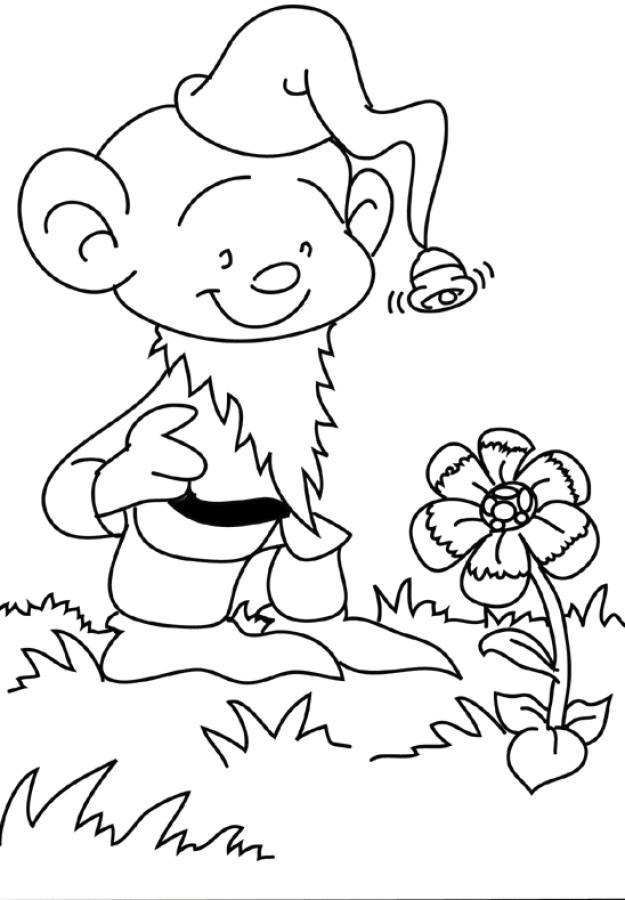 Coloriage et dessins gratuits Petit Gnome et Fleur à imprimer