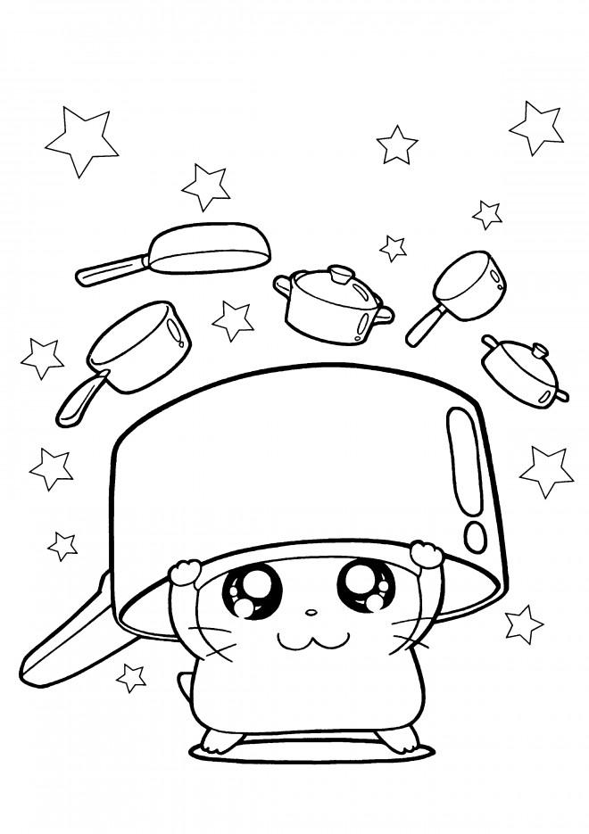Coloriage et dessins gratuits Hamtaro cuisine à imprimer