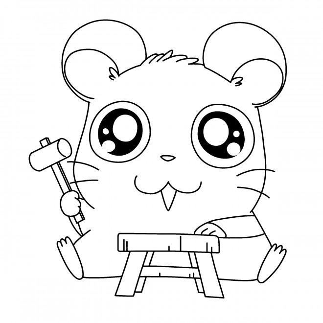 Coloriage et dessins gratuits Hamtaro entrain de bricoler à imprimer