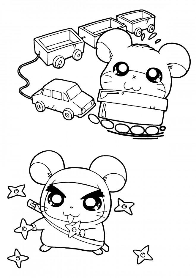 Coloriage et dessins gratuits Hamtaro entrain de jouer à imprimer
