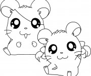 Coloriage et dessins gratuit Hamtaro et Bijou à imprimer