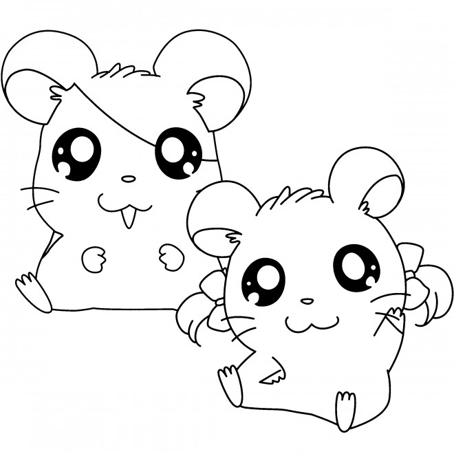 Coloriage et dessins gratuits Hamtaro et Bijou à imprimer