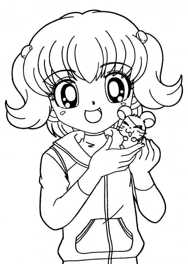 Coloriage et dessins gratuits Hamtaro et Laura à imprimer