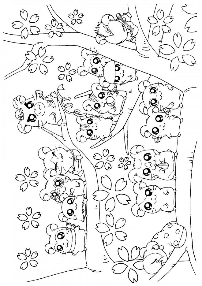 Coloriage hamtaro et ses amis dessin gratuit imprimer - Hamster gratuit ...
