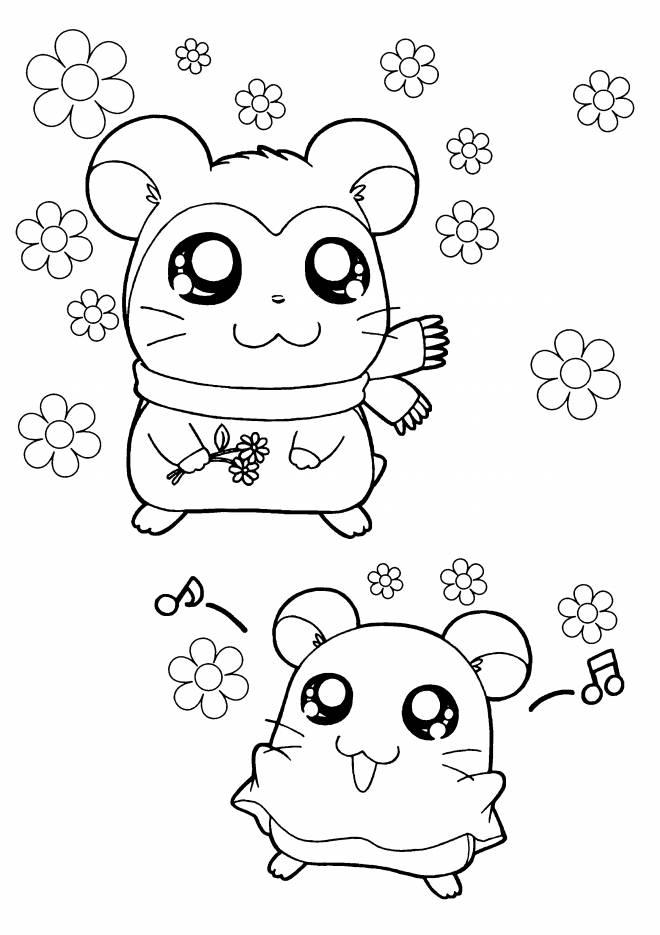 Coloriage et dessins gratuits Hamtaro et son amie en ligne à imprimer