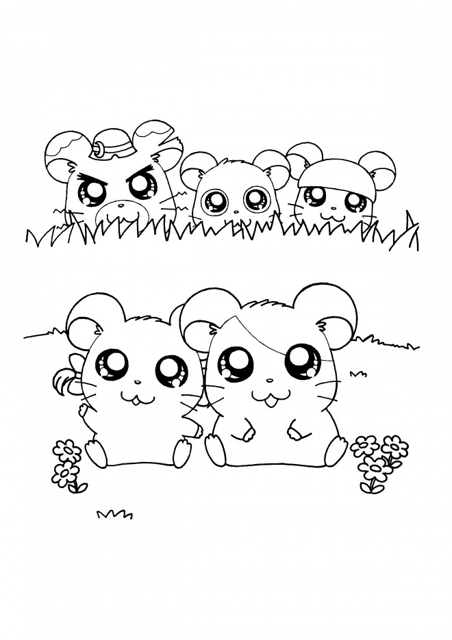 Coloriage et dessins gratuits Hamtaro Hamster Rigolo à imprimer