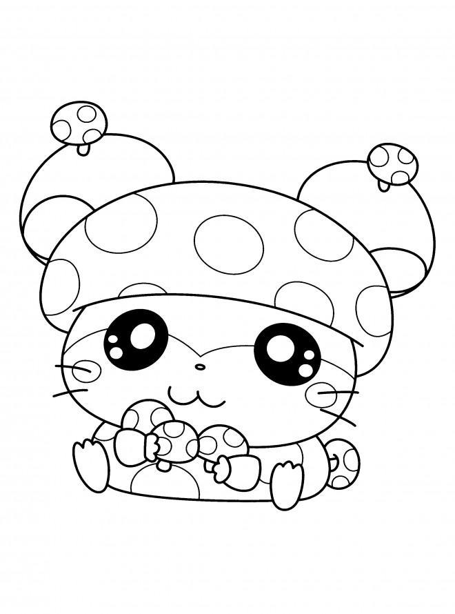 Coloriage et dessins gratuits Hamtaro l'adorable hamster à imprimer