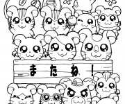 Coloriage Hamtaro: La famille des hamsters