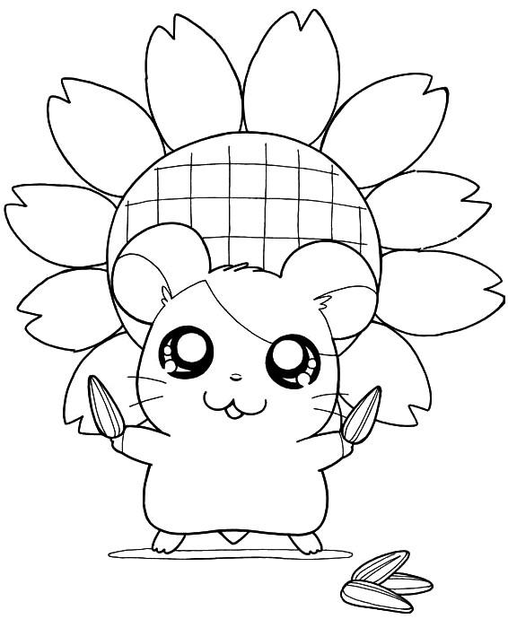 Coloriage et dessins gratuits Hamtaro tient des graines de tournesol à imprimer
