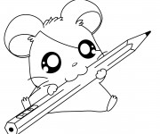 Coloriage et dessins gratuit Hamtaro tient un crayon à imprimer