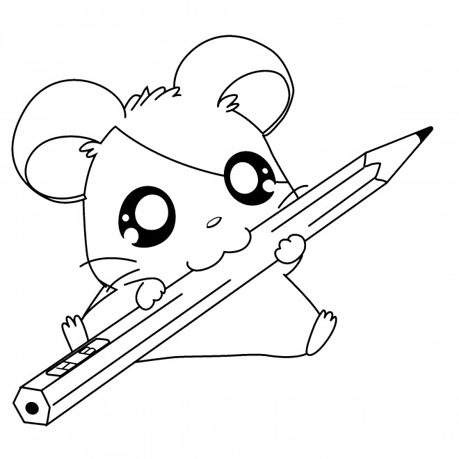 Coloriage et dessins gratuits Hamtaro tient un crayon à imprimer