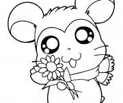 Coloriage Hamtaro tient une fleur de tounesol