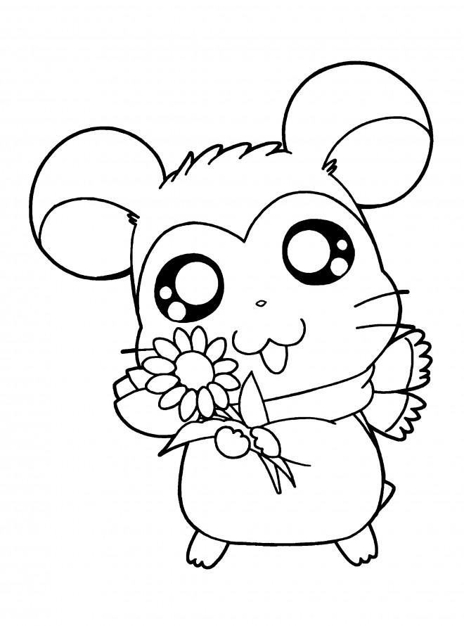 Coloriage et dessins gratuits Hamtaro tient une fleur de tounesol à imprimer