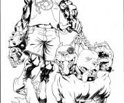 Coloriage et dessins gratuit Dessin diable et ses chiens à imprimer