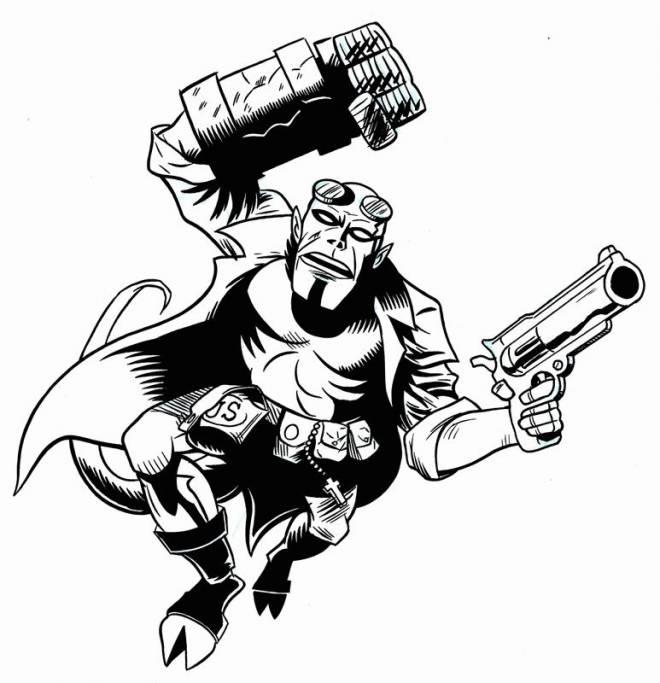Coloriage et dessins gratuits Hellboy à l'attaque à imprimer