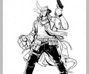 Coloriage et dessins gratuit Hellboy avec corne cassé à imprimer