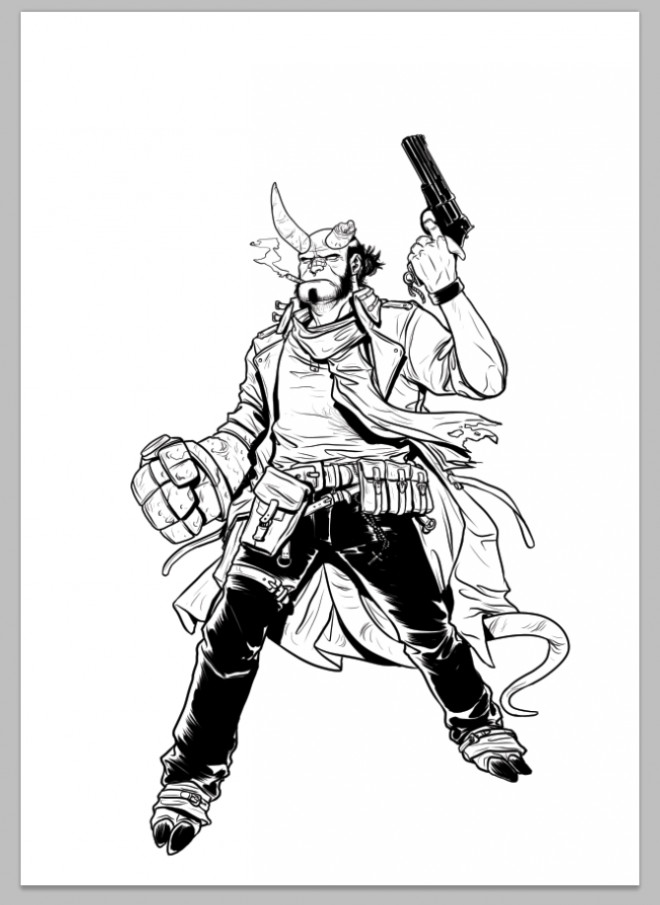 Coloriage et dessins gratuits Hellboy avec corne cassé à imprimer