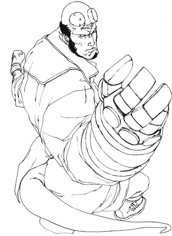 Coloriage et dessins gratuits Hellboy dessin diable à imprimer