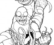 Coloriage et dessins gratuit Hellboy en combat en couleur à imprimer