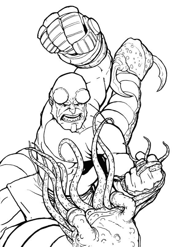 Coloriage et dessins gratuits Hellboy en combat en couleur à imprimer