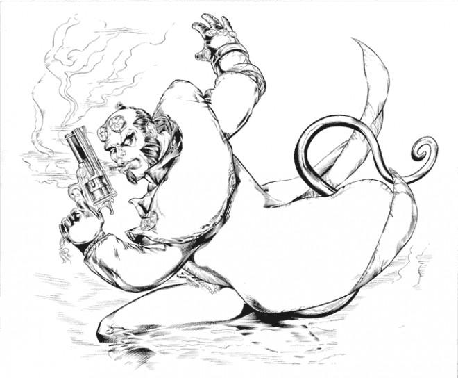 Coloriage et dessins gratuits Hellboy en fumant son cigar à imprimer