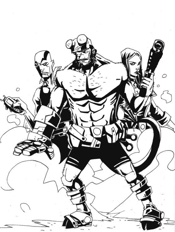 Coloriage et dessins gratuits Hellboy et ses amis à télécharger à imprimer