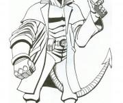 Coloriage et dessins gratuit Hellboy porte son pistolet en ligne à imprimer