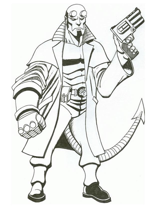 Coloriage et dessins gratuits Hellboy porte son pistolet en ligne à imprimer