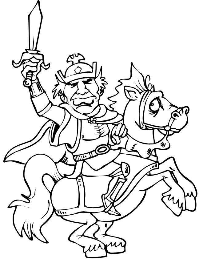 Coloriage et dessins gratuits Le roi sur son cheval à imprimer