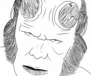 Coloriage et dessins gratuit Le visage de Hellboy dessin à imprimer