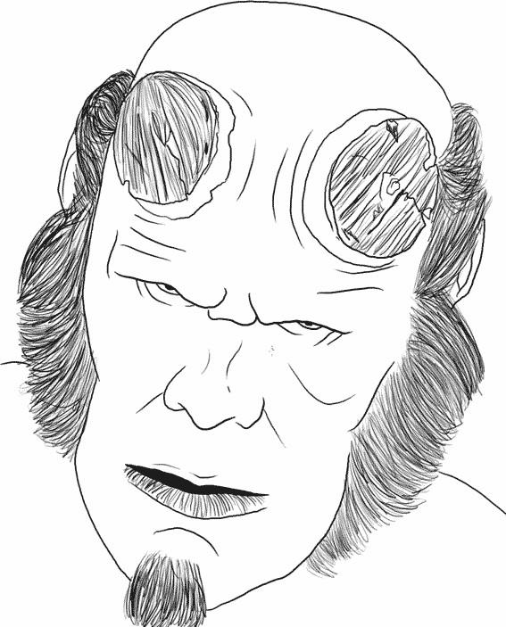 Coloriage et dessins gratuits Le visage de Hellboy dessin à imprimer