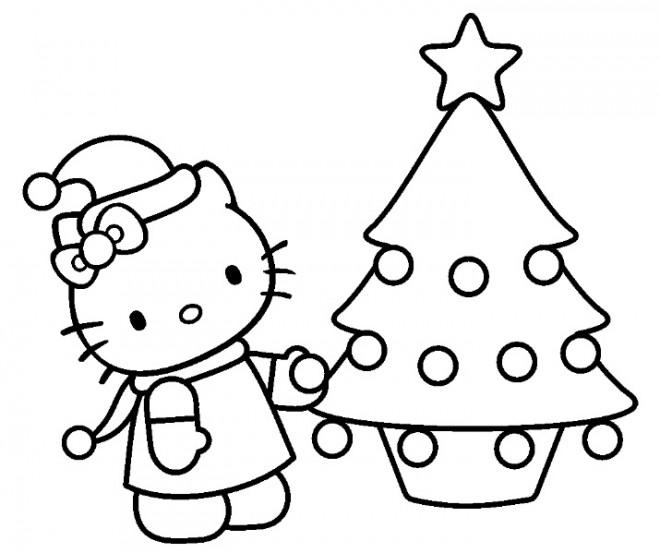 Coloriage Hello Kitty en Noel dessin gratuit à imprimer