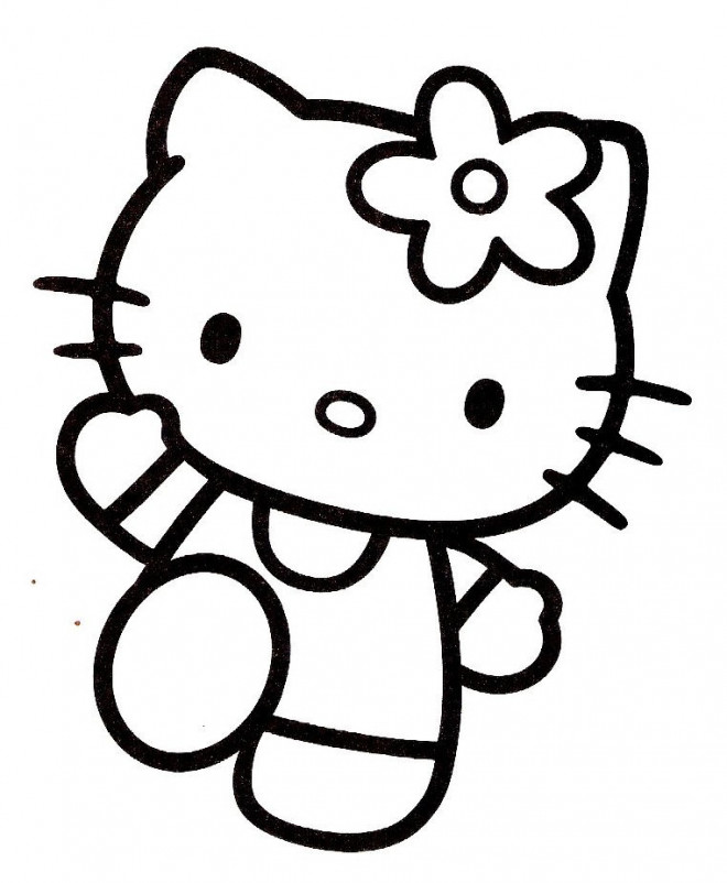 Coloriage hello kitty en train te salue dessin gratuit imprimer - Coloriage tete hello kitty a imprimer ...