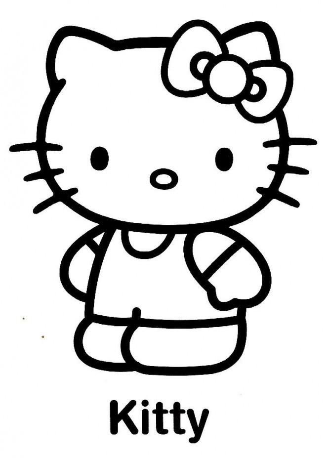 Coloriage Facile Hello Kitty.Coloriage Hello Kitty Facile Dessin Gratuit A Imprimer