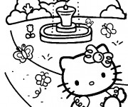 Coloriage Hello Kitty au jardin