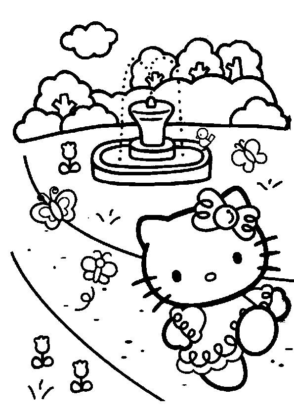 Coloriage et dessins gratuits Hello Kitty au jardin à imprimer