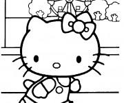 Coloriage Hello Kitty au manège