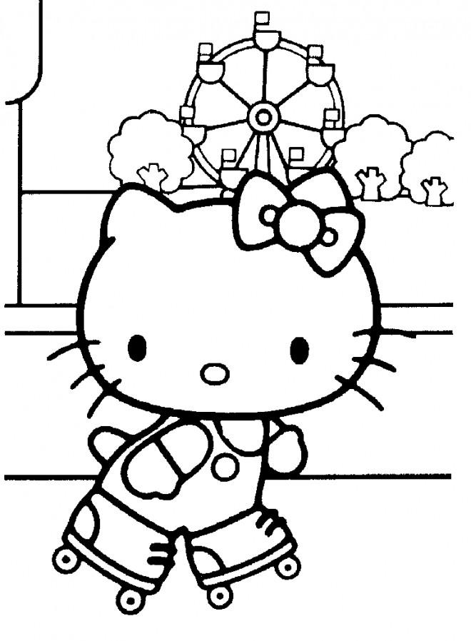 Coloriage et dessins gratuits Hello Kitty au manège à imprimer