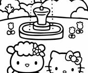 Coloriage Hello Kitty au parc